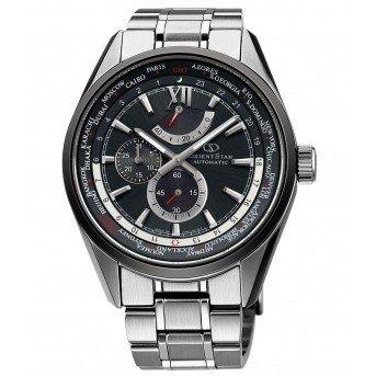 オリエントスター 腕時計 ORIENTSTAR オリエントスター プレステージショップ限定モデル ワールドタイム 機械式 自動巻き (手巻き付き) ブルー WZ0061JC メンズ 替えバンド付き:(ブラック、プッシュ三つ折式)