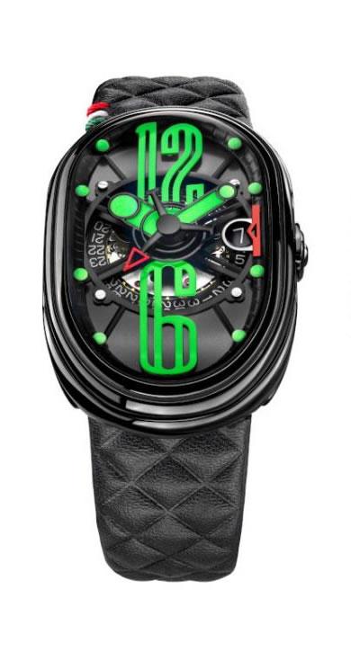グリモルディ 腕時計 GTO ブラックレザーベルト メンズ GRIMOLDI Gran Tipo Ovale SSSHICE612SL-BK1962年~1964年にわずかに製造されたフェラーリ250GTOにオマージュした腕時計