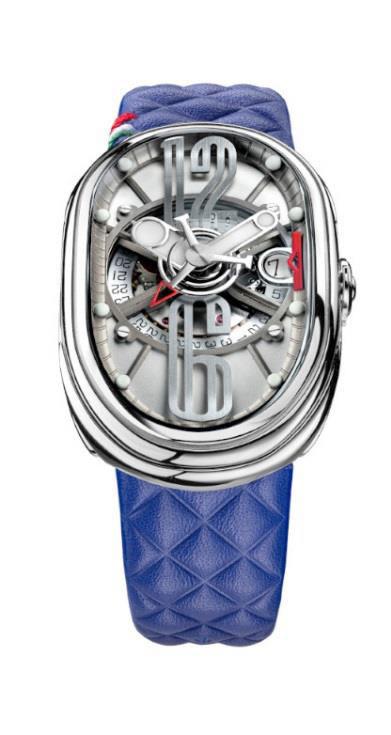 グリモルディ 腕時計 GTO ブルーレザーベルト メンズ GRIMOLDI Gran Tipo Ovale SSSHICE612SL-BL1962年~1964年にわずかに製造されたフェラーリ250GTOにオマージュした腕時計