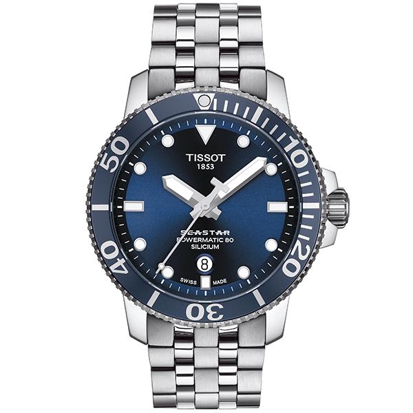 TISSOT 腕時計 ティソ 時計 メンズ シースター1000 パワーマティック80 オートマティック シリシウム ネイビー文字盤 ブレスレット T120.407.11.041.01 優美堂のティソはメーカー保証2年つきの正規代理店商品です。優美堂 分割払い可