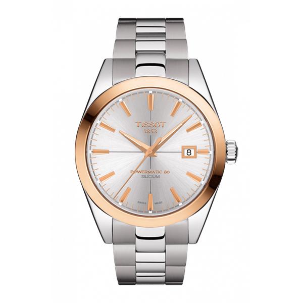 ティソ 時計 TISSOT 腕時計 ジェントルマン パワーマティック80 シリシウム オートマティック 18Kローズゴールドベゼル ブレスレット T927.407.41.031.00 優美堂のティソはメーカー保証2年つきの正規代理店商品です。優美堂 分割払い可