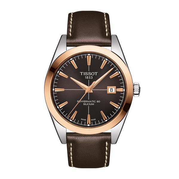 TISSOT 腕時計 ティソ ジェントルマン パワーマティック80 シリシウム オートマティック 18Kローズゴールドベゼル ブラウンレザーベルト T927.407.46.291.00 優美堂のティソはメーカー保証2年つきの正規代理店商品です。優美堂 分割払いできます。