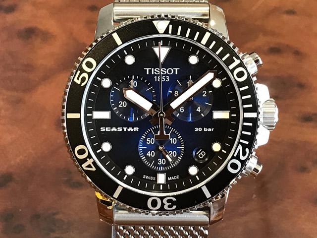 TISSOT 腕時計 ティソ 時計 メンズ シースター1000 クロノグラフ クォーツ ネイビー文字盤 ミラネーゼブレスレット T120.417.11.041.02 優美堂のティソはメーカー保証2年つきの正規代理店商品です。優美堂 分割払い可
