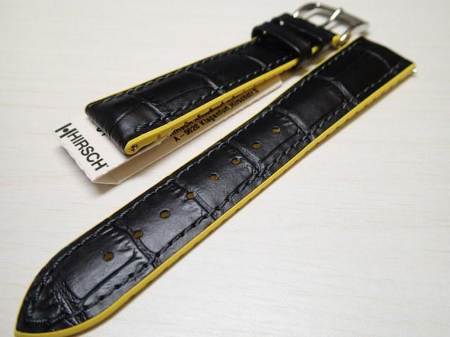 HIRSCH ヒルシュ ANDY アンディ 【黄色 イエロー】 男性サイズしかありません 腕時計ベルト カーフ(アリゲーターの型押し仕上げ、イタリアンカーフ) 裏素材は カウチューク(天然ゴム) 18mm/20mm/22mm/24mm
