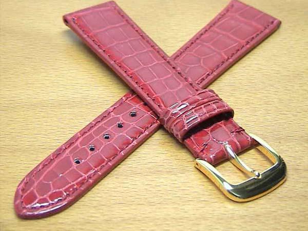 18mm時計バンド(腕時計)ベルト18ミリ クロコダイル(ワニ)時計バンド 時計ベルト バネ棒 サービス 18mm 赤 腕時計用 時計ベルト 時計用バンド 525円で販売していますバネ棒をサービスでお付けします。