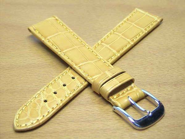 18mm時計バンド(腕時計)ベルト18ミリ クロコダイル(ワニ)時計バンド 時計ベルト バネ棒 サービス 18mm 黄色 イエロー 腕時計用 時計ベルト 時計用バンド 525円で販売していますバネ棒をサービスでお付けします。