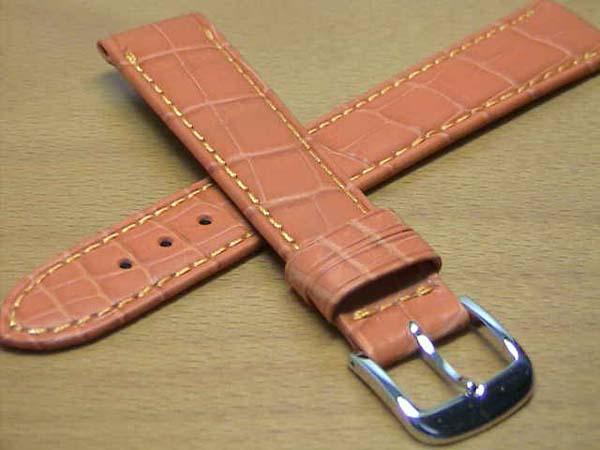 18mm時計バンド(腕時計)ベルト18ミリ クロコダイル(ワニ)時計バンド 時計ベルト バネ棒 サービス 18mm オレンジ色 腕時計用 時計ベルト 時計用バンド 525円で販売していますバネ棒をサービスでお付けします。