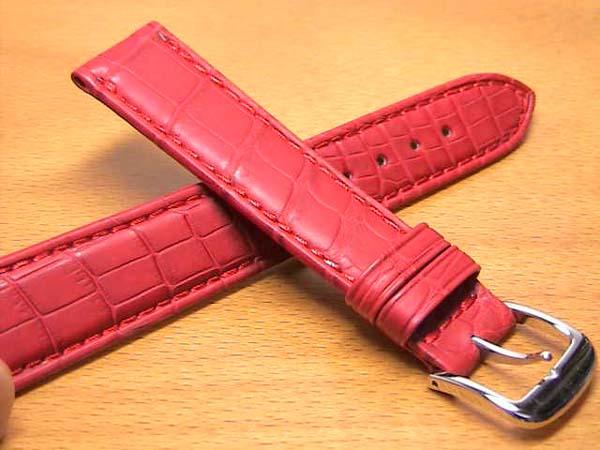 18mm時計バンド(腕時計)ベルト18ミリ クロコダイル(ワニ)時計バンド 時計ベルト バネ棒 サービス 18mm 赤 レッド 腕時計用 時計ベルト 時計用バンド 525円で販売していますバネ棒をサービスでお付けします。