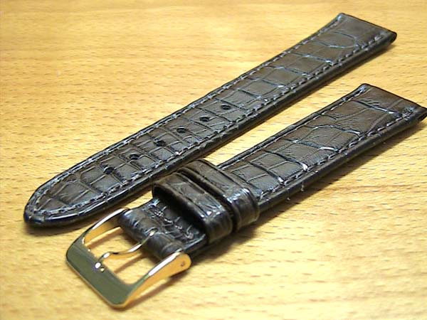 18mm時計バンド(腕時計)ベルト18ミリ クロコダイル(ワニ)時計バンド 時計ベルト バネ棒 サービス 18mm 黒 腕時計用 時計ベルト 時計用バンド