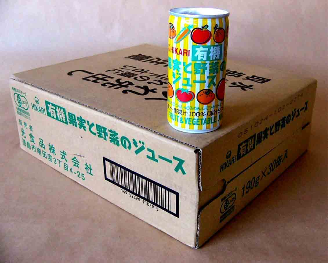 全国送料無料お得な箱売り有機JAS果実と野菜のジュース190g×60本