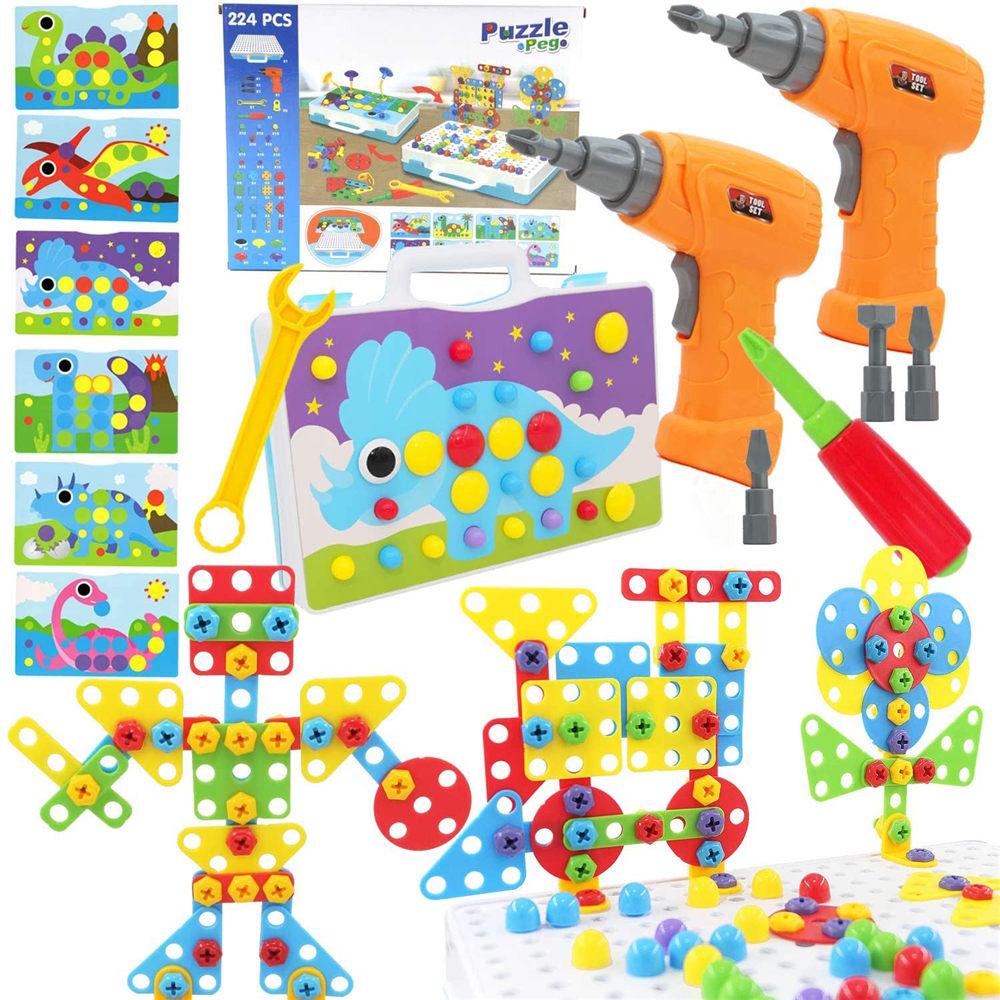 電動 ドリル 2個 おもちゃ 評価 知育 玩具 メーカー再生品 男の子 DIY 大工 STEM 誕生日 235PCS パズル 恐竜 立体 ペグ クリスマス プレゼント