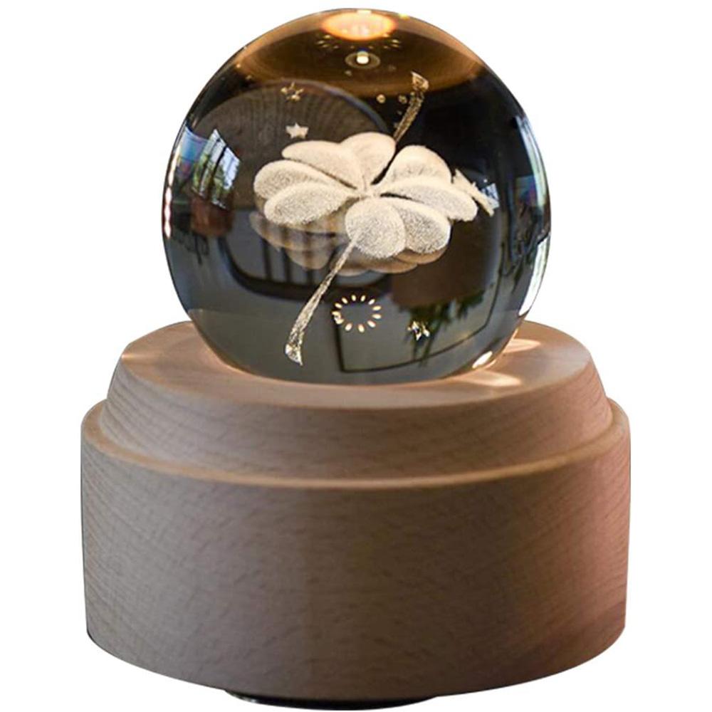オルゴール 誕生日プレゼント間接照明 ベッドサイドランプ LEDライト USB充電 おしゃれ 木製 手作り 四つ葉のクローバー オルゴール クリスタル ボール 木製手作りかわいい おしゃれ間接照明 LEDライト USB充電式投影ボール インテリア かわいい 癒しグッズ 誕生日プレゼント記念日 出産祝いなどの場合に最適 (四つ葉のクローバー)