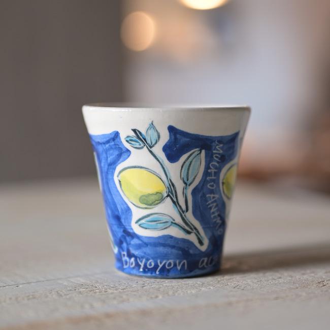 青の染付レモンカップが食卓を引き締める 萬理さんのフリーカップ 染付レモンコップ BY-306 セール 登場から人気沸騰 クリアランスsale!期間限定! 吉岡萬理 作家