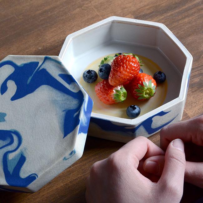 和食器 彩墨流陶箱 -青- 作家「瀬津純司」