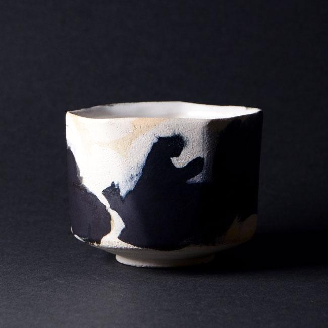 【共箱付】彩墨流茶碗 -白黒-(JS-631) 作家「瀬津純司」