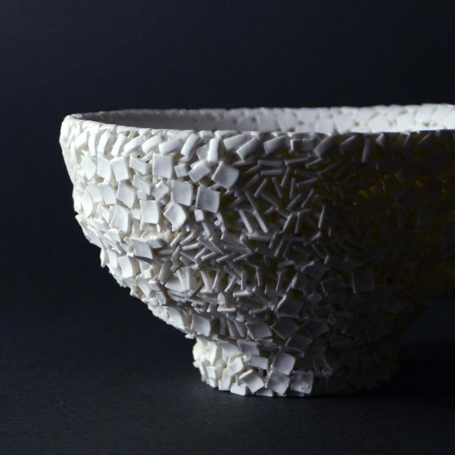 CONGLOMERATE 白磁茶碗(共箱付) 作家「田中雅文」