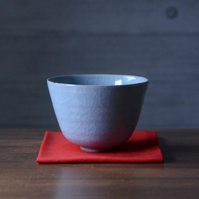 【共箱付】美濃青瓷茶碗(RH-053) 作家「林隆一郎」