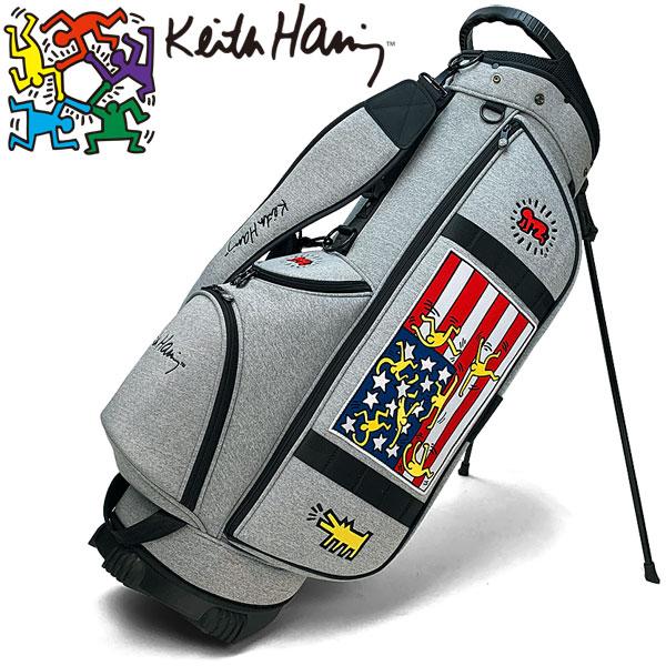 キースヘリング ゴルフ スタンド キャディバッグ American flag × Star KHCB-05 【ライトグレー】【スタンド式】