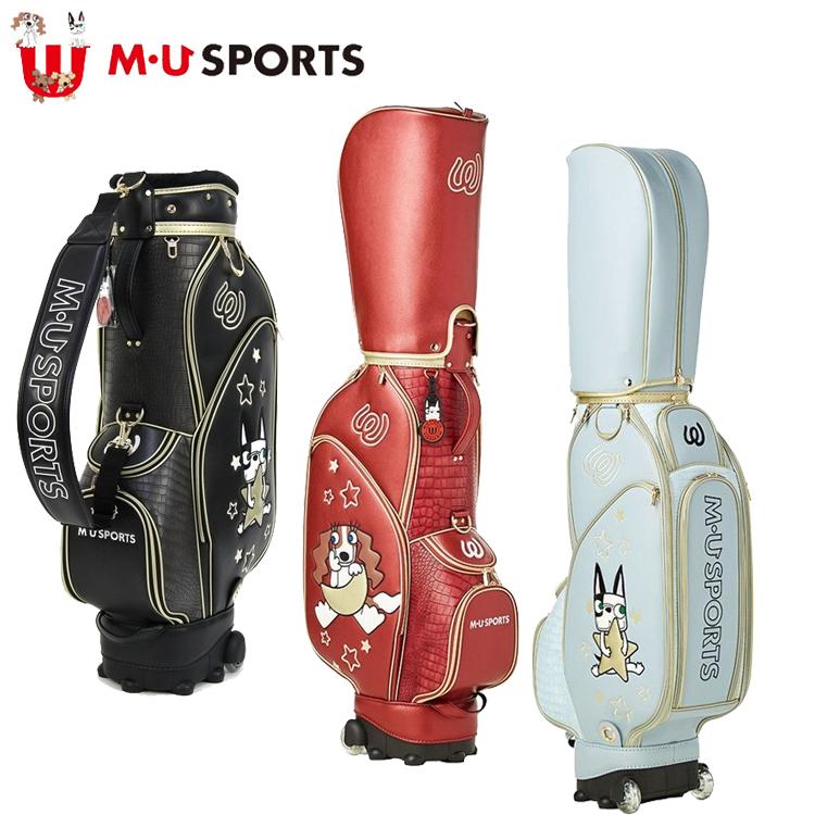 MU SPORTS MUスポーツ 703W2100 レディース キャディバッグ 8.5インチ ローリングソール 型押しレザー調素材 【ゴルフバッグ】【2018年モデル】