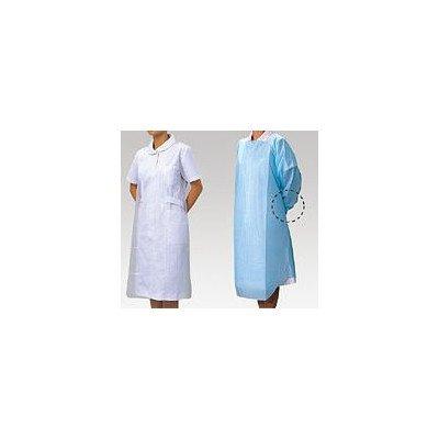 【送料無料】 ビニールエプロン袖つき ブルー L 50枚入 '076394 竹虎