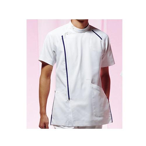 KAZEN メンズジャケット半袖 ホワイト×ネイビー CIS300-C/28