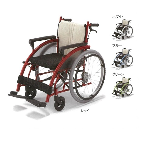 【送料無料】 車椅子 nomoca レッド 幅61×奥行100×高さ86cm 15.6kg