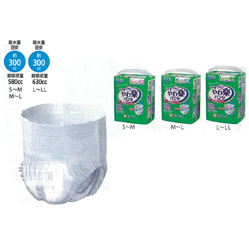 4袋 サルバ やわ楽パンツ M~L 60~95 24枚 白十字(株)