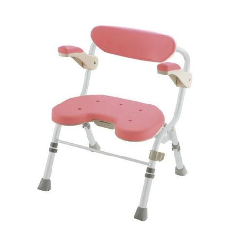 【送料無料】 折りたたみシャワーチェア U型 肘掛付 ピンク 1台 48081 リッチェル