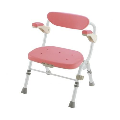 【送料無料】 折りたたみシャワーチェア R型 肘掛付 ピンク 1台 48061 リッチェル
