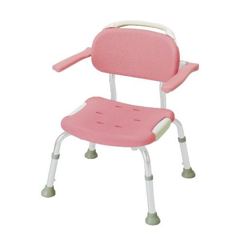 【送料無料】 やわらかシャワーチェア ひじ掛け付コンパクト ピンク 1台 49321 リッチェル