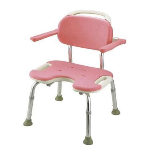 【送料無料】 やわらかシャワーチェア U型肘掛付ワイド ピンク 1台 49461 リッチェル