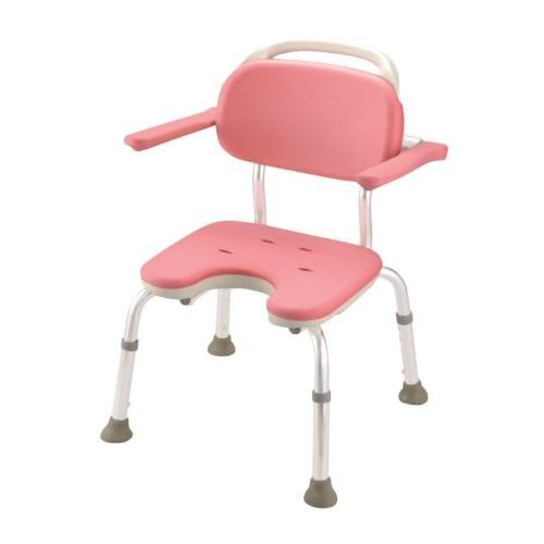【送料無料】 やわらかシャワーチェア U型肘掛付コンパクト ピンク 1台 49441 リッチェル