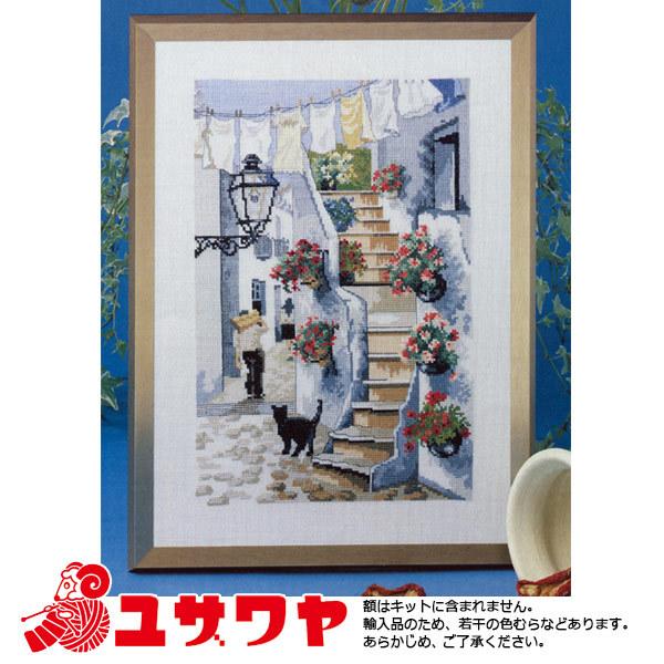 OOE 輸入刺繍キット 猫のいる風景 B 76437[刺しゅう ししゅう 輸入キット クロスステッチ オーレンシュレー