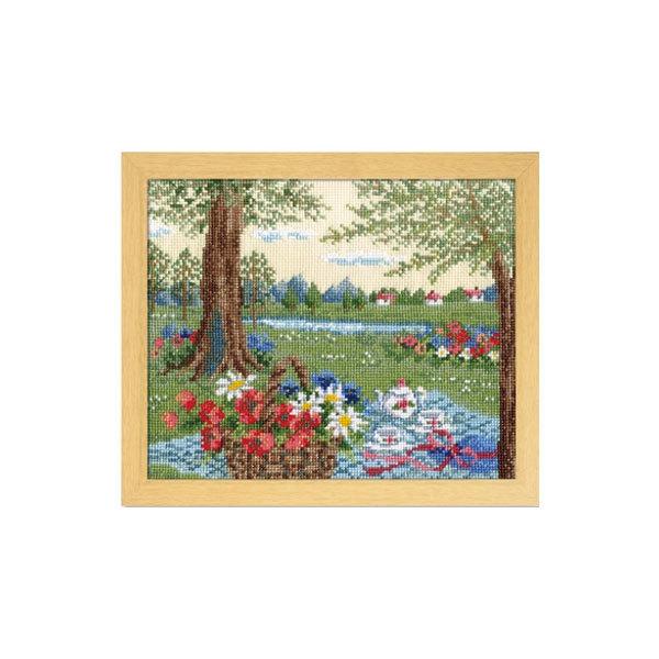 刺繍キット オリムパス オノエ・メグミ 物語からの花咲く風景 アリスの木陰のテイータイム(ベージュ)/7427