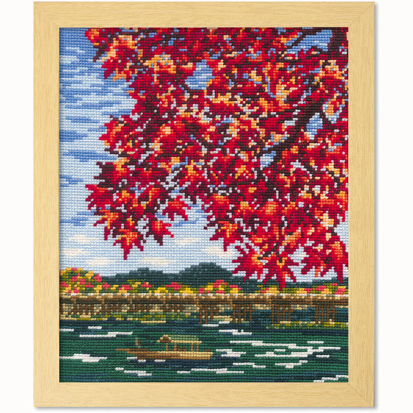 クロスステッチ刺繍キット オリムパス 日本の名所 紅葉の嵐山/7388 [刺しゅうキット/ししゅう/クロスステッ