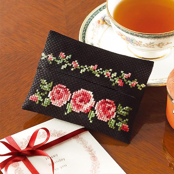 刺しゅうキット 刺繍キット お買得 花刺しゅうの優しい小物 お気に入 ティッシュケース Olympus 9015 バラ オリムパス