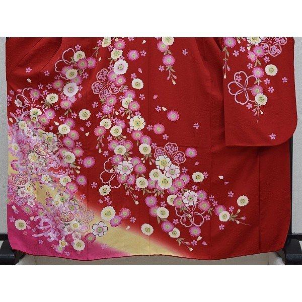 レンタル成人式 振袖 フルセット 赤・ワイン系 花柄 Lサイズ 結婚式 卒業式 結納 レンタル着物 16284rhsQdt