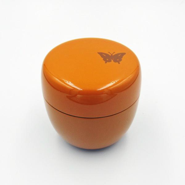 密閉式の中蓋付 商店 茶器 茶籠 デポー ケース入 携帯用蝶文小棗 オレンジ