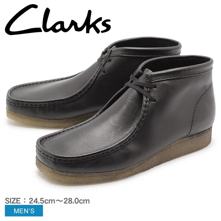 送料無料 クラークス CLARKS ワラビーブーツ ブラック レザー UK規格(26103666 WALLABEE BOOT) くらーくす メンズ(男性用) 本革 モカシン シューズ 靴 天然皮革