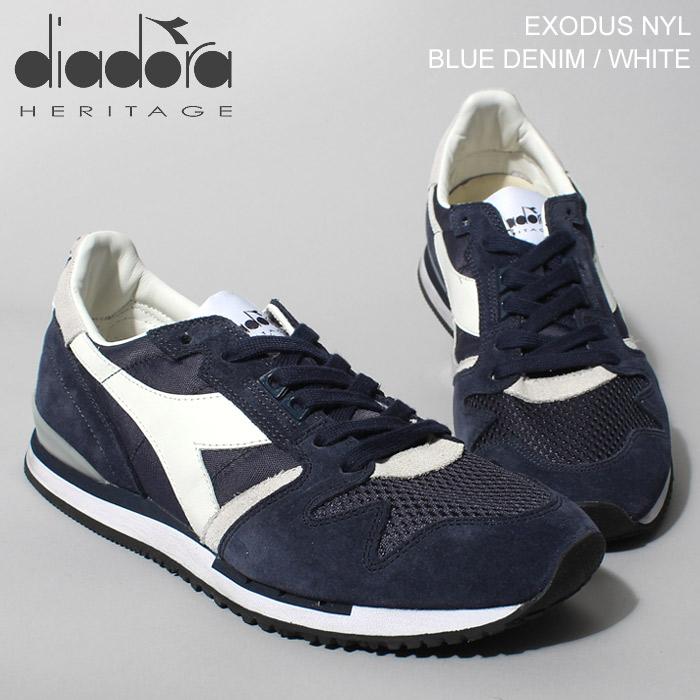 送料無料 ディアドラ ヘリテージ エクソダス ナイロン ブルー×ホワイト(DIADORA HERITAGE EXODUS NYLON BLUE WHITE)クラシック レトロ ランニング スニーカー シューズ 靴メンズ 男性