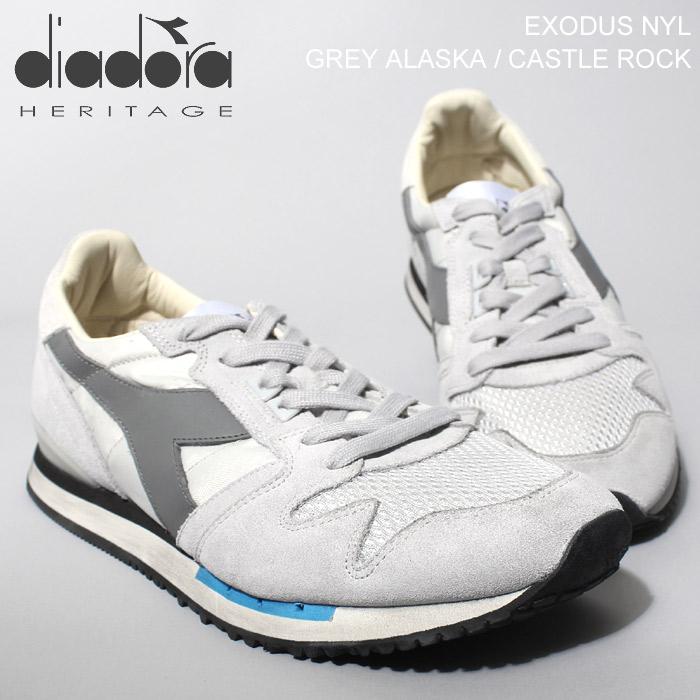 送料無料 ディアドラ ヘリテージ エクソダス ナイロン グレー(DIADORA HERITAGE EXODUS NYLON GREY)クラシック レトロ ランニング スニーカー シューズ 靴メンズ 男性