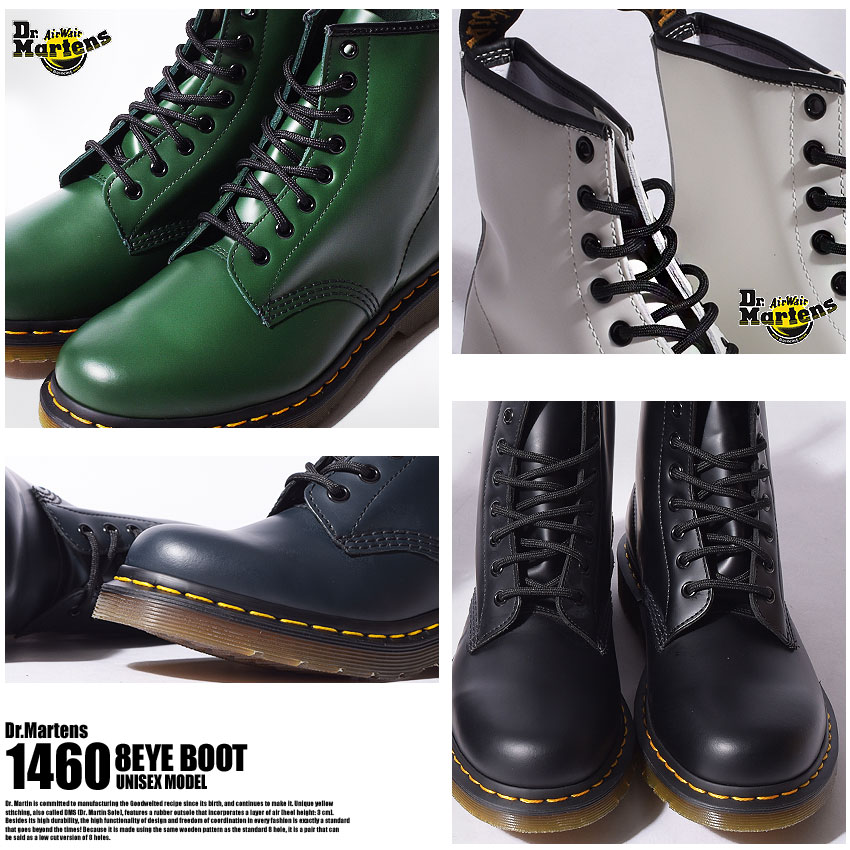 Doctor Martin 8 hall boots Lady's men DR. MARTENS 8HOLE BOOT 1460 shoes brand nature leather leather genuine leather leather casual stylish lock