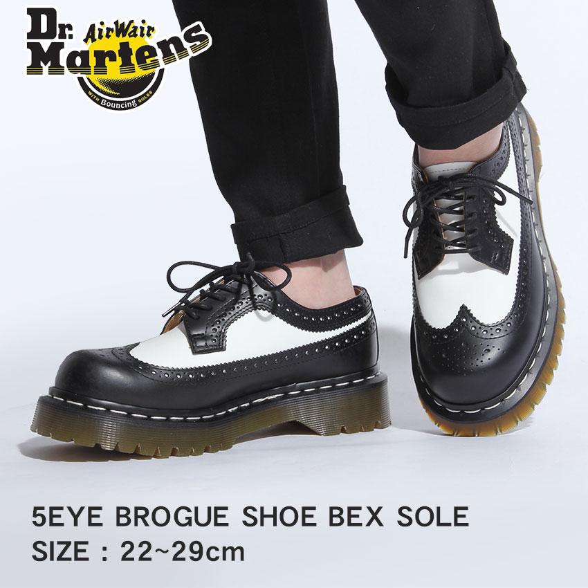 ドクターマーチン ブローグシューズ ベックスソール メンズ レディース DR.MARTENS 3989 ブラック 黒 ホワイト 白 ウイングチップ コンビレザー ブーツ 10458001 398996019 5EYE BROGUE SHOE BEX SOLE 送料無料