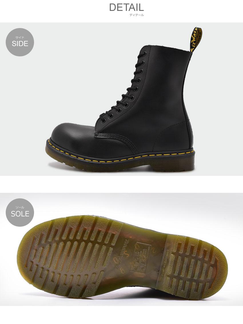 DR.MARTENS ドクターマーチン ブーツ ブラック1919 スチールトゥ 10ホール ブーツ 1919 STEEL TOE 10EYE BOOT10105001 メンズ レディース