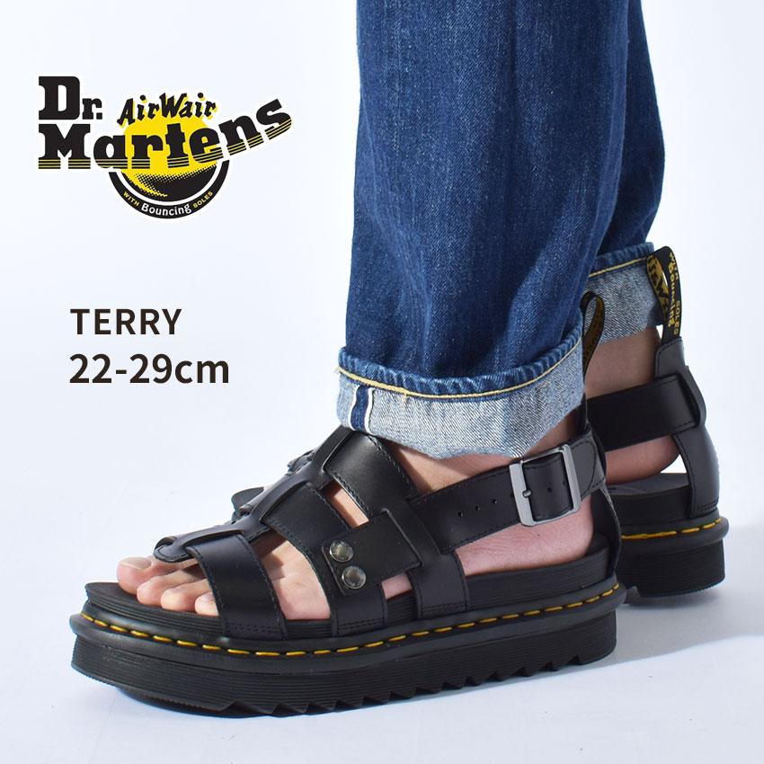送料無料 DR.MARTENS ドクターマーチン サンダル ブラック テリー TERRY 23521001 メンズ レディース ブランド カジュアル コンフォート レザー グラディエーター シューズ ベルト ストラップ 厚底 靴 革靴 本革 定番 黒