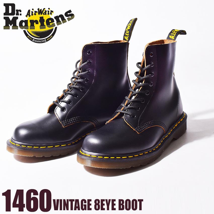 送料無料 DR.MARTENS ドクターマーチン ブーツ ブラック1460 ヴィンテージ 8ホール ブーツ 1460 VINTAGE 8EYE BOOT12308001 メンズ レディース