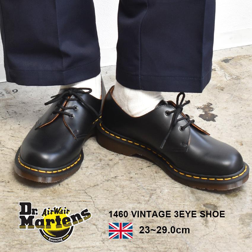 送料無料 DR.MARTENS ドクターマーチン 革靴 ブラック1461 ヴィンテージ 3ホール シューズ 1460 VINTAGE 3EYE SHOE12877001 メンズ レディース