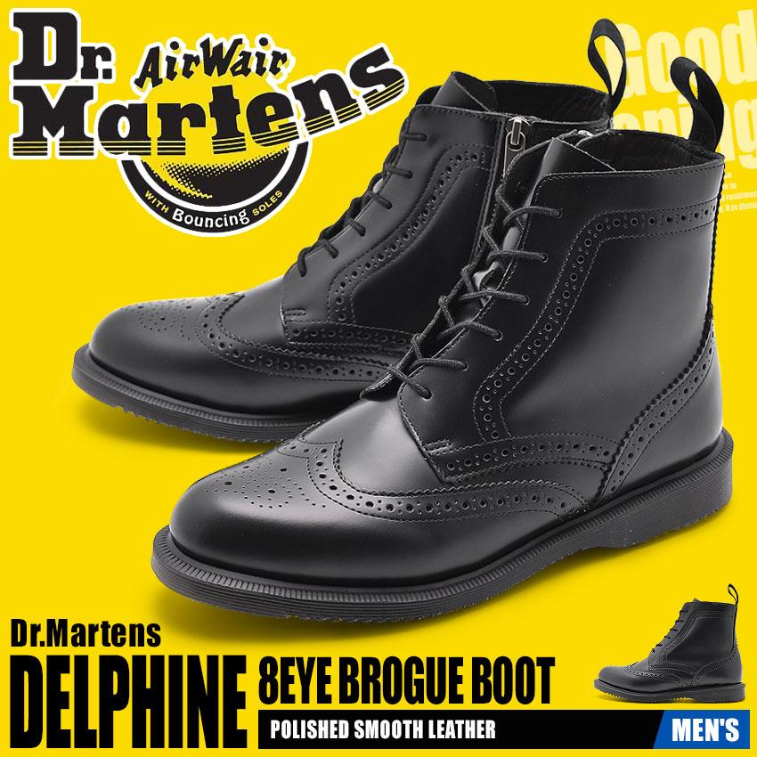 送料無料 ドクターマーチン Dr.Martens デルフィーヌ 6ホール ブローグ ブーツ ブラックDR.MARTENS DELPHINE 6EYE BROGUE BOOT 22650001レザー 本革 サイドジップ 靴 黒 メンズ