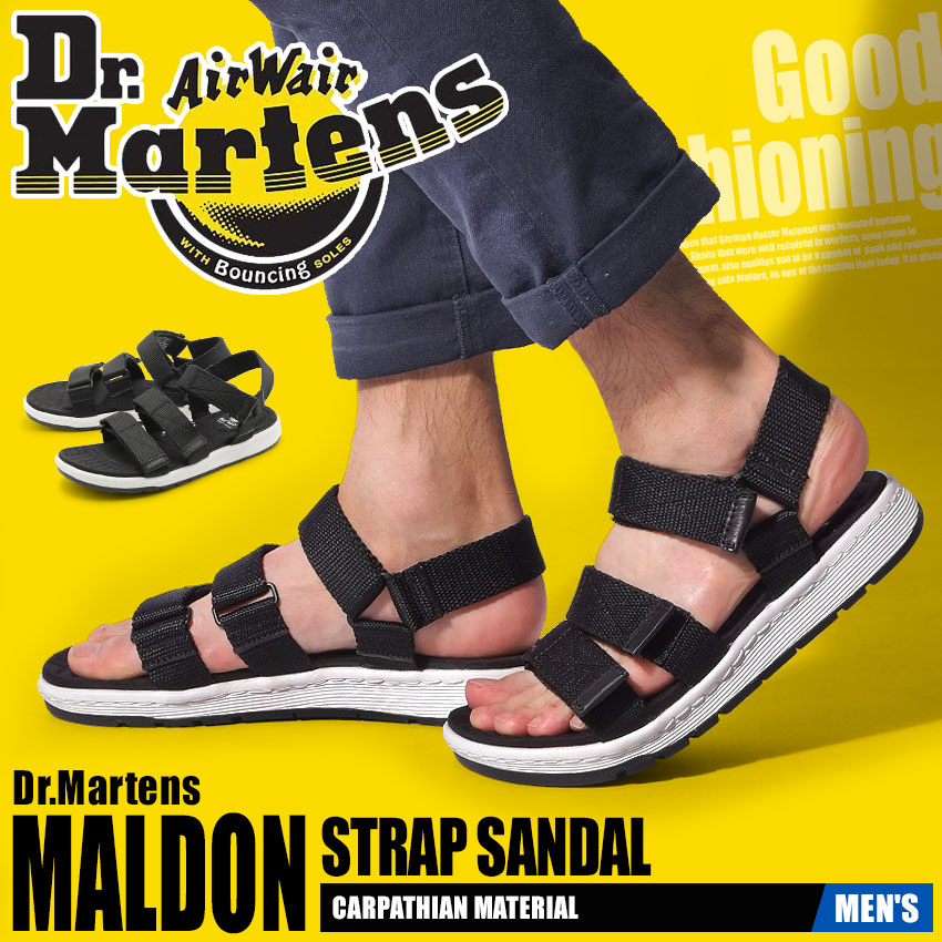 送料無料 MALDON STRAP SANDAL (男性用) ブラックDR.MARTENS 靴メンズ 22278001コンフォート ストラップ マルドン Dr.Martens ドクターマーチン サンダル