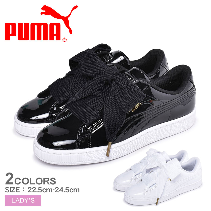 best loved 8713b 42d33 I wear it in PUMA Puma sneakers basket heart patent women BASKET HEART  PATENT Wn' s 363073 01 02 Lady's shoes shoes black white low-frequency cut  ...